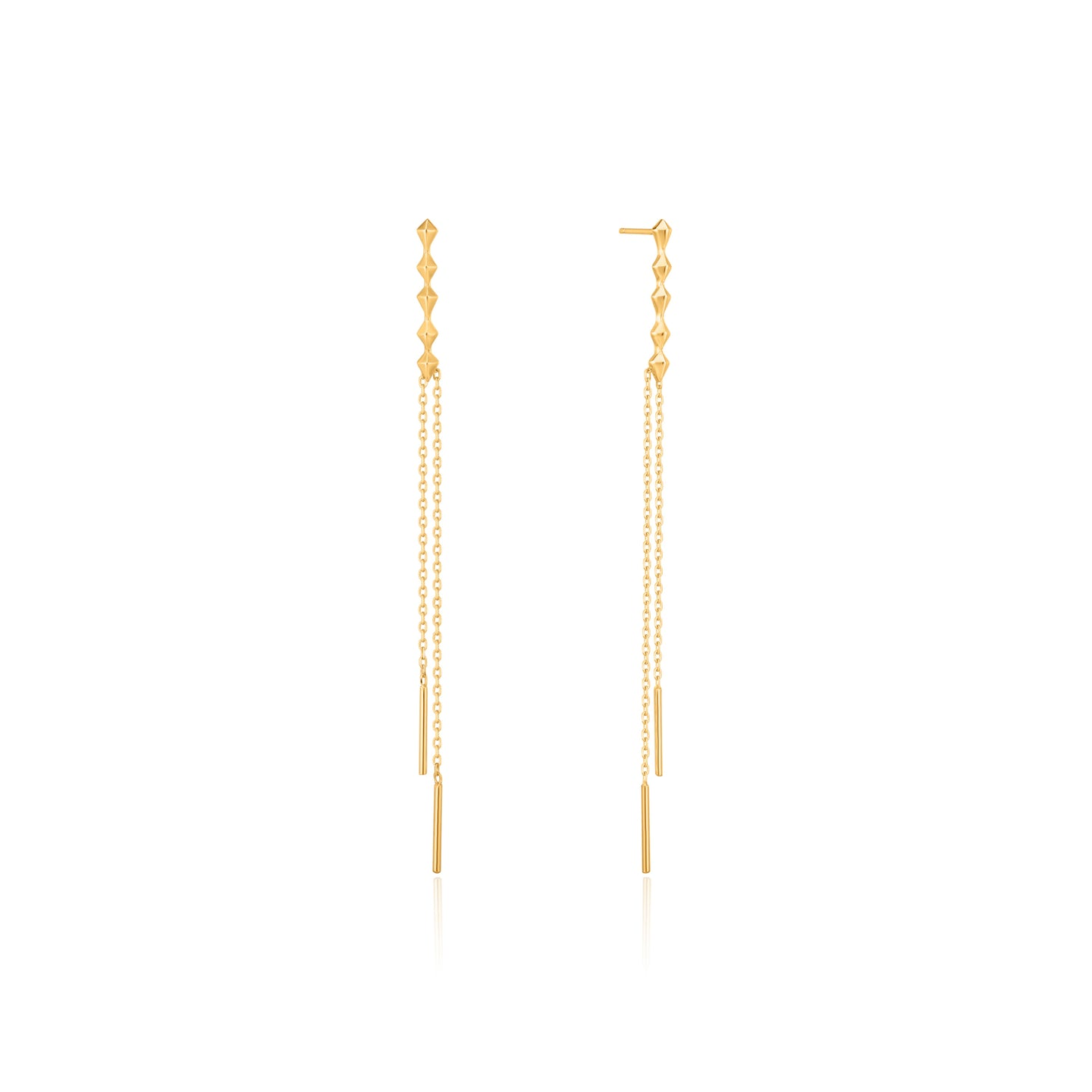 Gold Spike Double Drop Earrings E025-01G