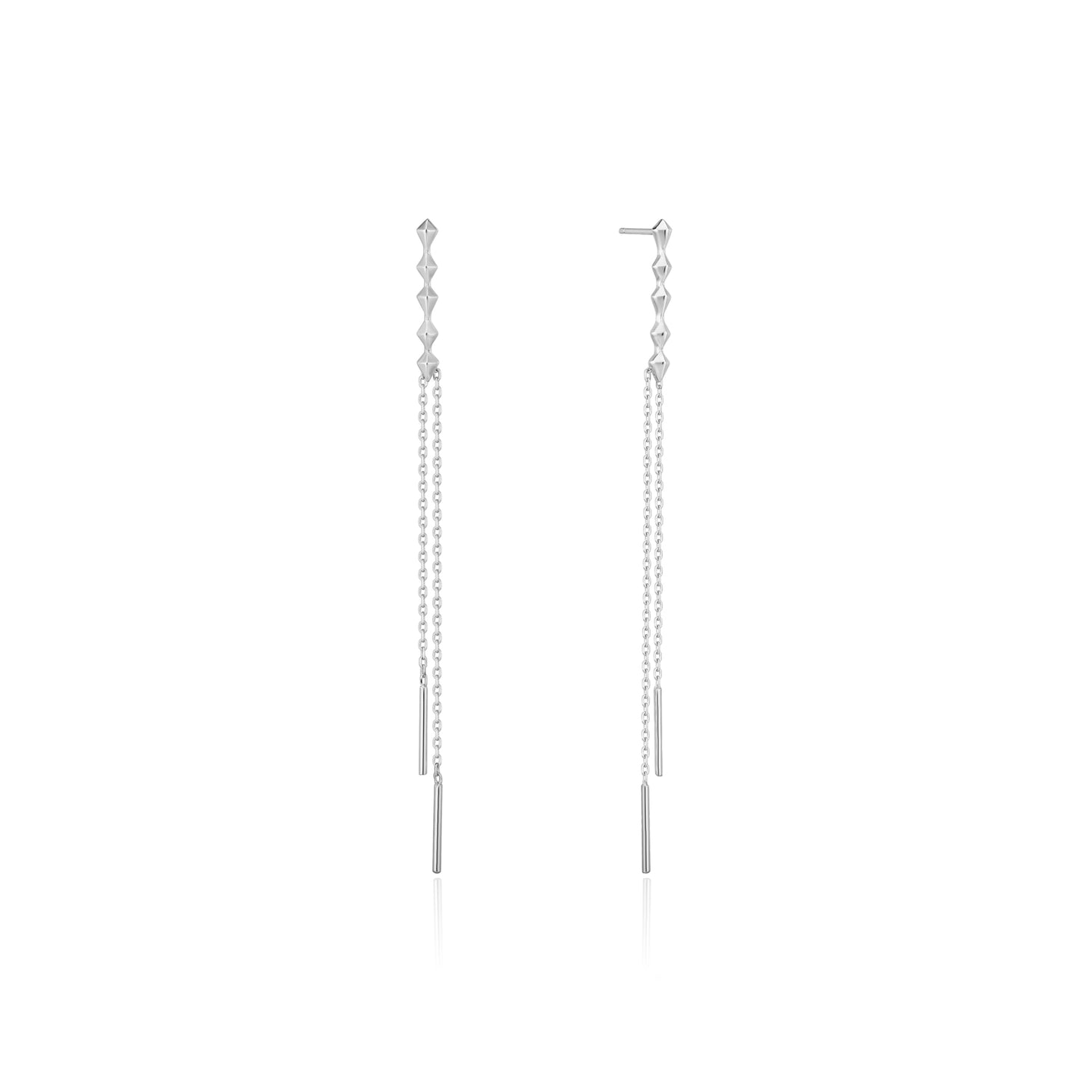 Silver Spike Double Drop Earrings E025-01H