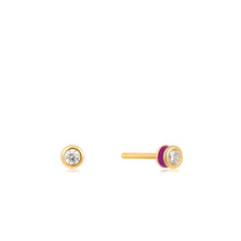 Load image into Gallery viewer, Berry Enamel Gold Stud Earrings E028-01G-R