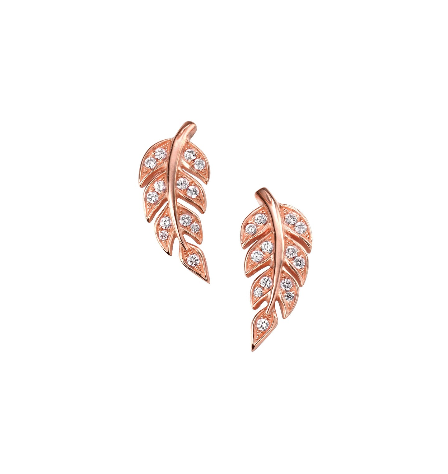 Rose Gold Leaf studs