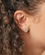 Load image into Gallery viewer, Silver & Gold Honeycomb and Bee Earrings