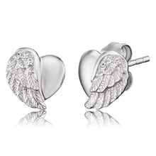 Load image into Gallery viewer, Heart Wing Silver Earrings