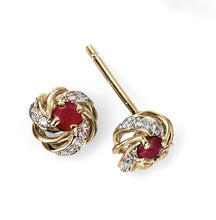Load image into Gallery viewer, 9ct Yellow Gold Ruby and Diamond Cluster Earrings