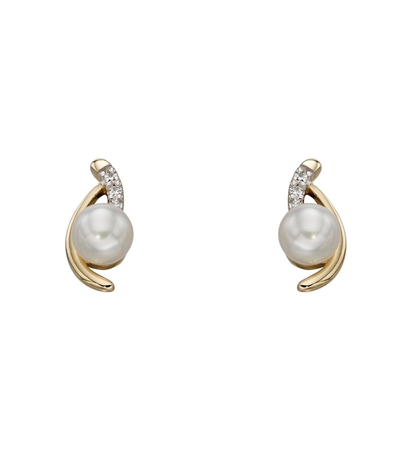 9ct Pearl and Diamond Earrings