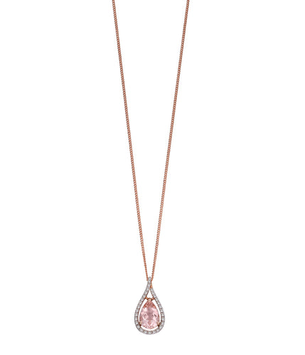 9ct Rose Gold Morganite and Diamond Drop Necklace