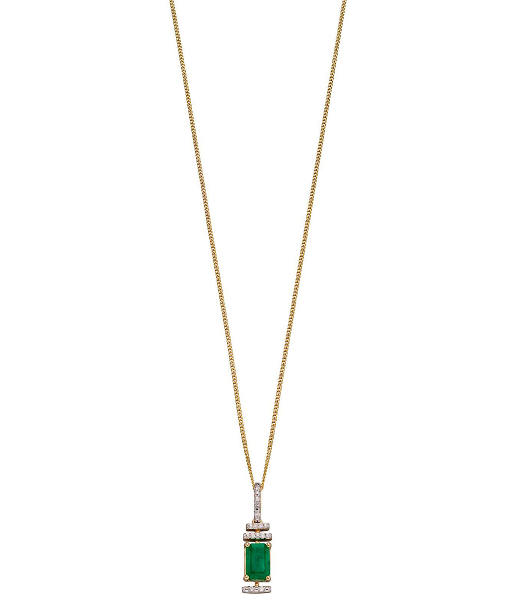 9ct Yellow Gold Emerald and Diamond Art Deco Pendant
