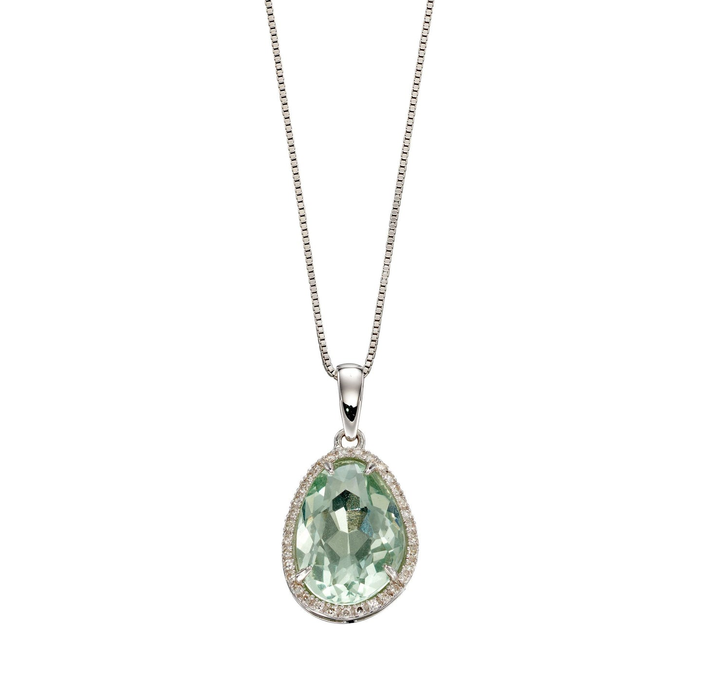 9ct White Gold Green Fluorite Irregular Pendant