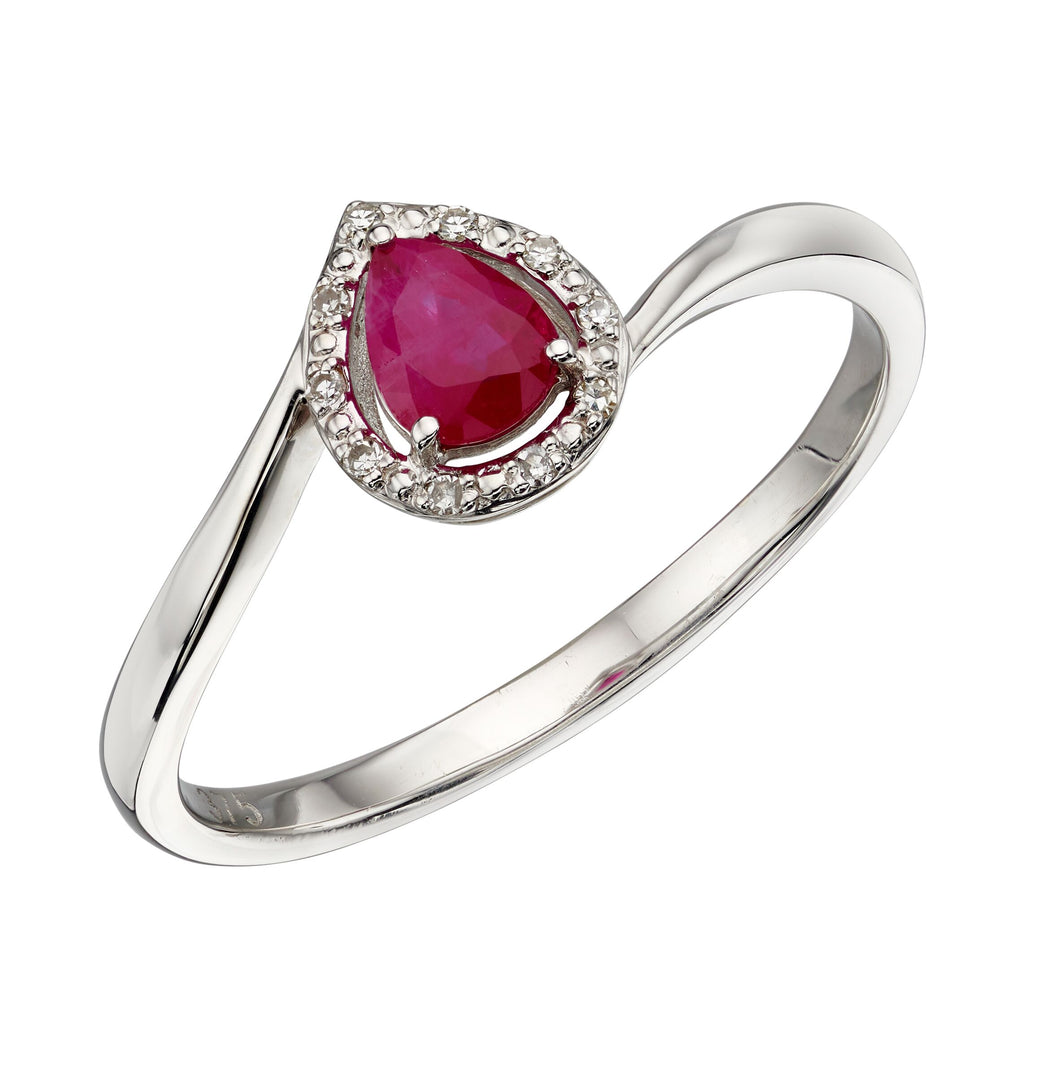 9ct White Gold Ruby and Diamond Pear Shaped Ring