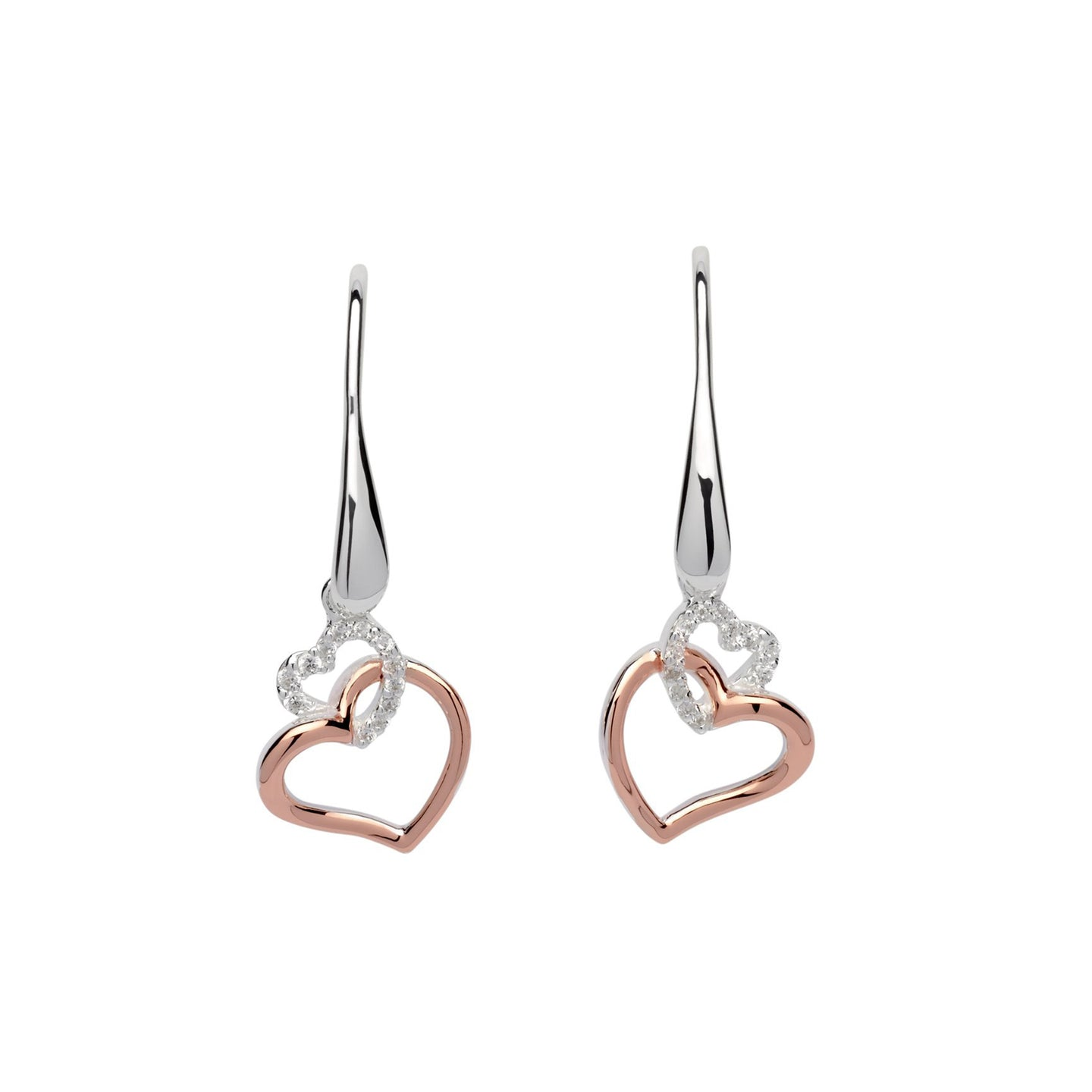 Silver and Rose Heart Drop Earrings ME-612
