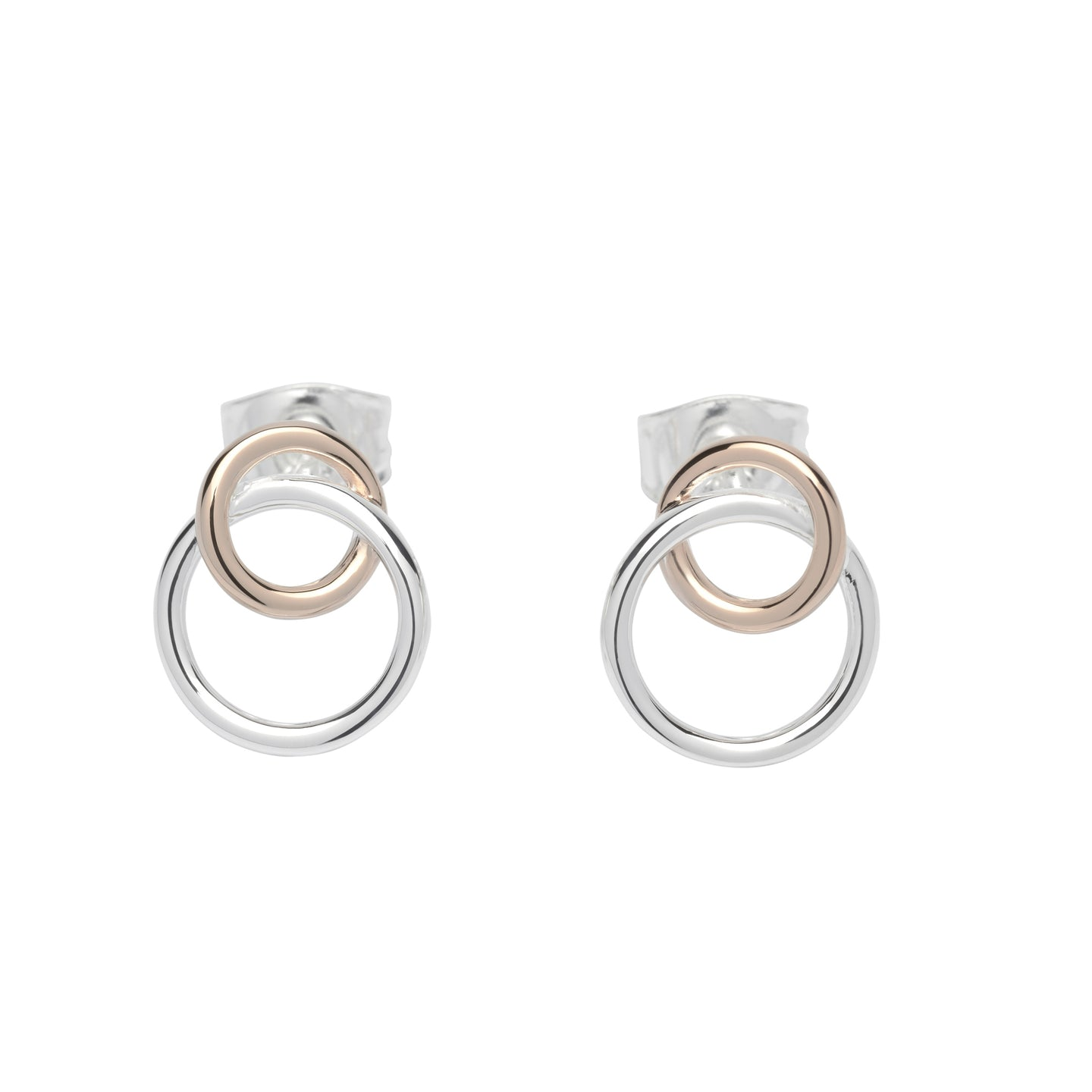 Silver and Rose Double circle Earrings ME-613