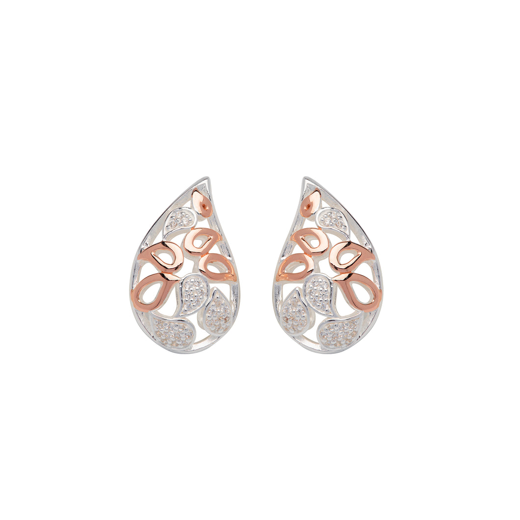 Silver and Rose Petal shape Earrings ME-667