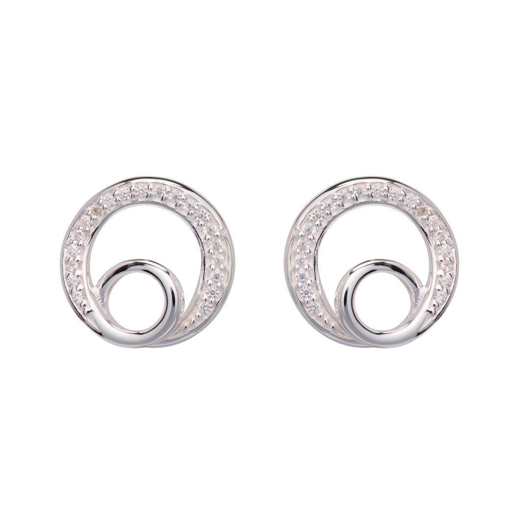 Silver Double Loop Earrings ME-764