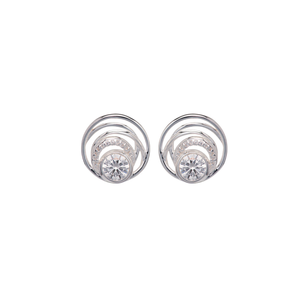 Silver Swirl Earrings with Cubic Zirconia ME-765