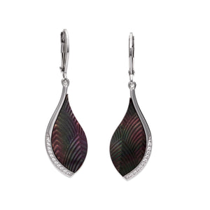 Silver & Black Mother of Pearl Drop Earrings ME-787