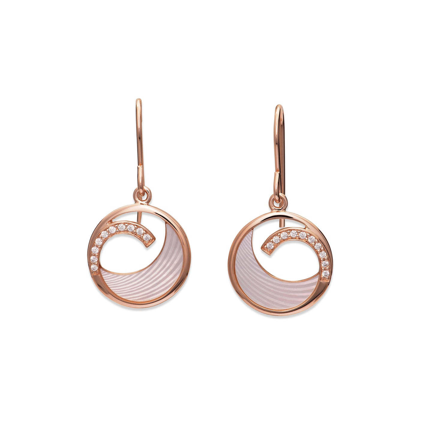 Rose Mother of Pearl Drop Swirl Earrings ME-788