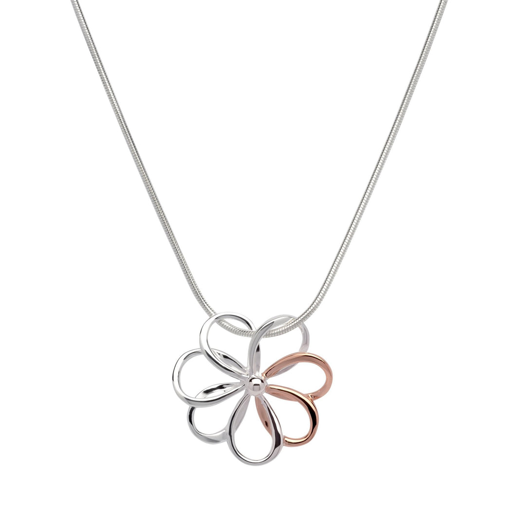 Silver and Rose Flower Pendant with Chain MK-609