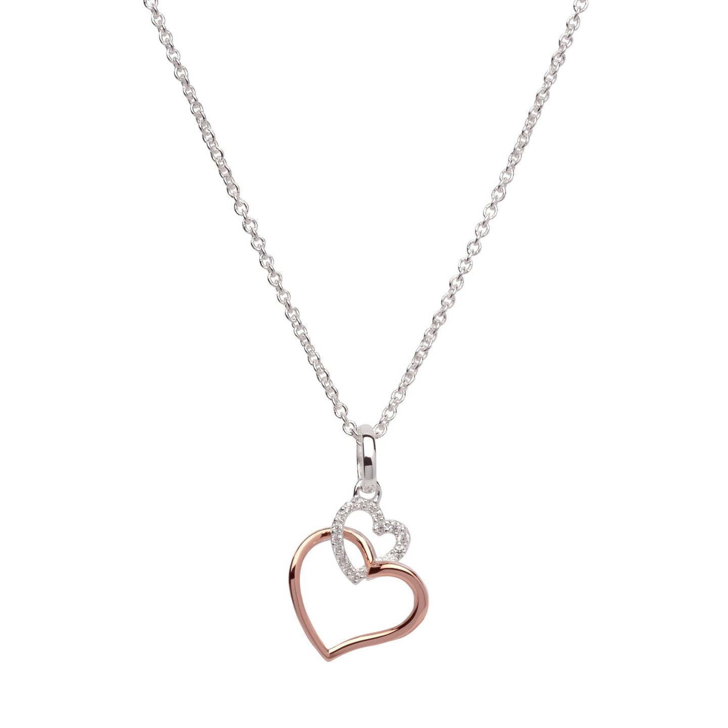 Silver and Rose Double Heart Pendant with Chain MK-612