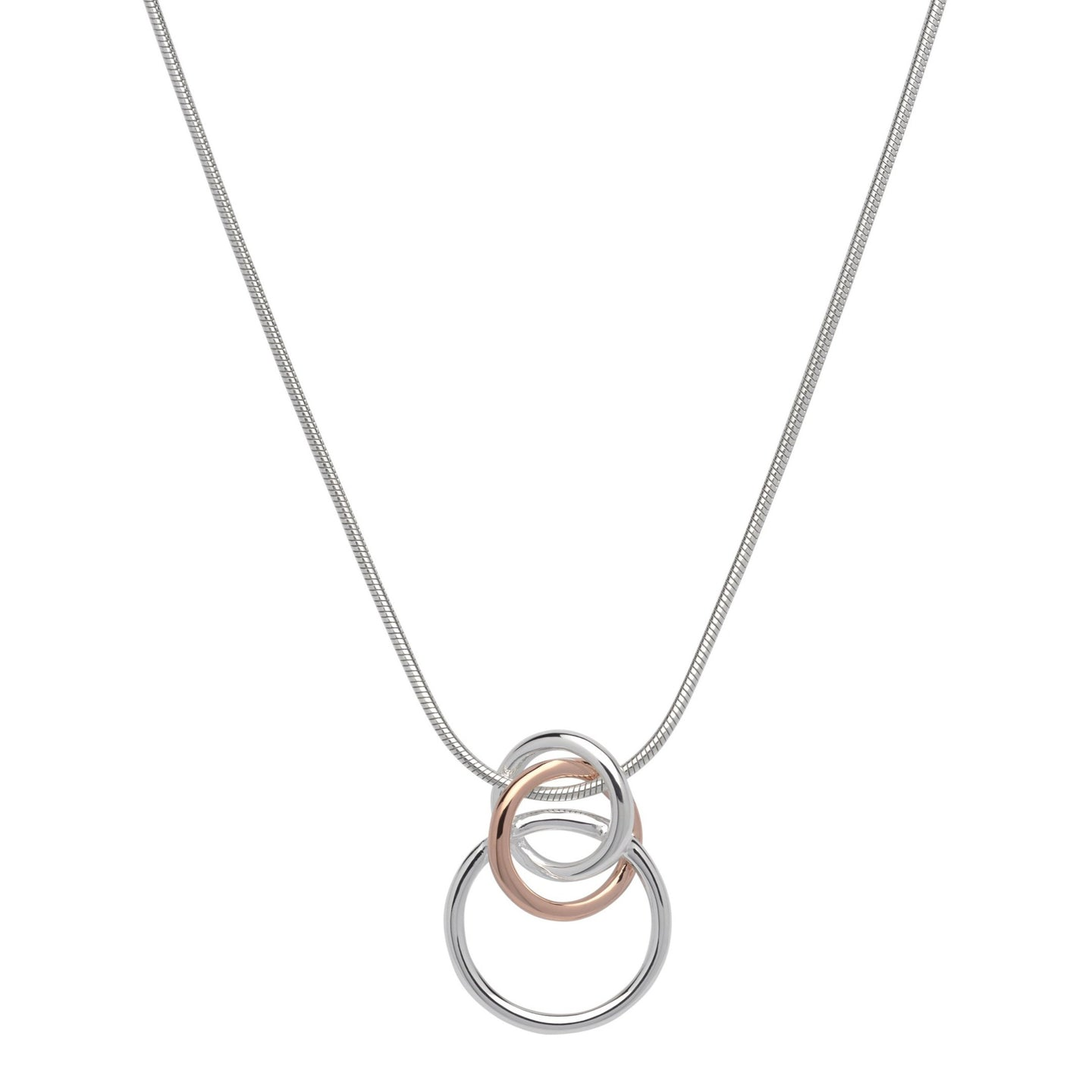Silver and Rose Triple Loop Pendant with Chain MK-613