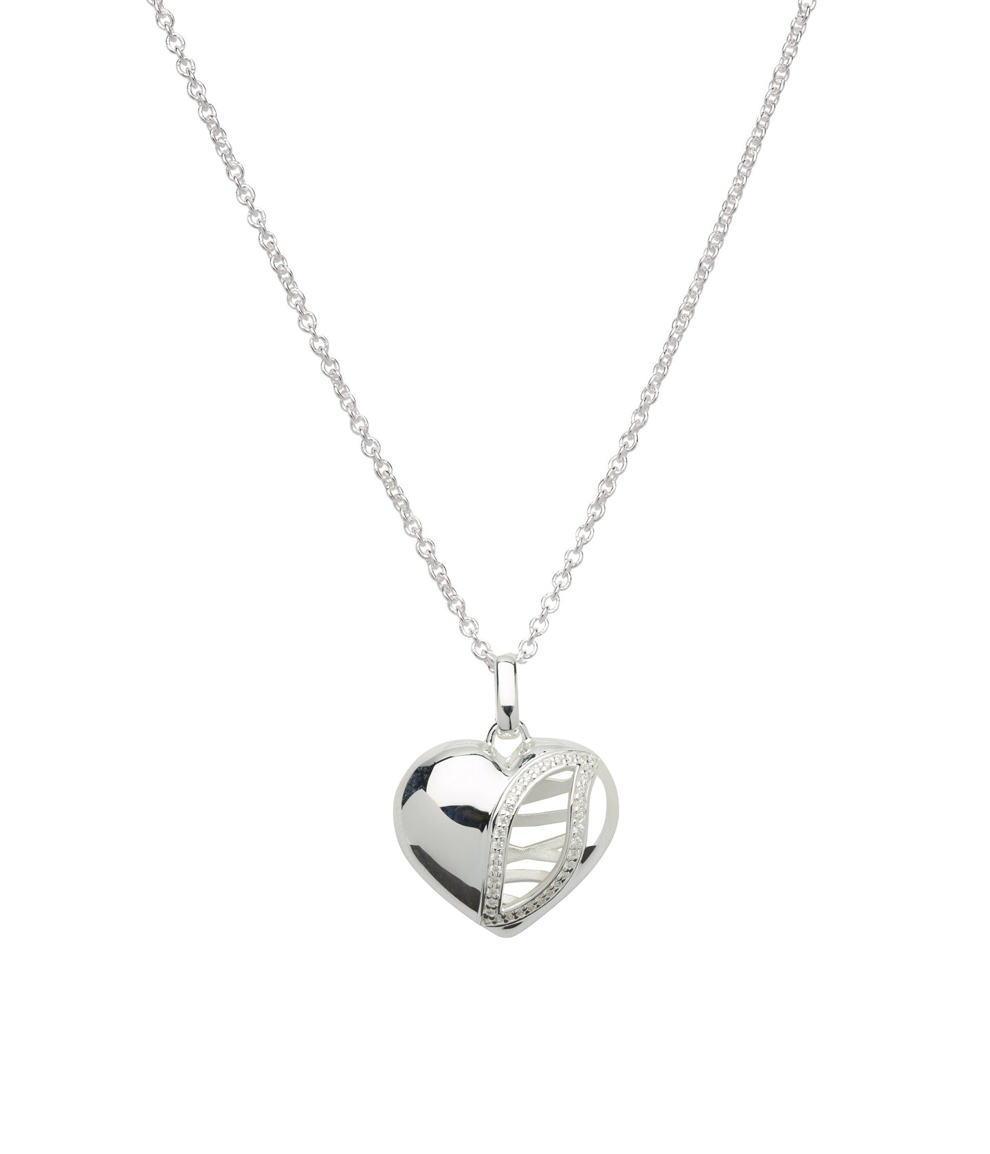 Silver Statement Heart Pendant with Chain MK-628