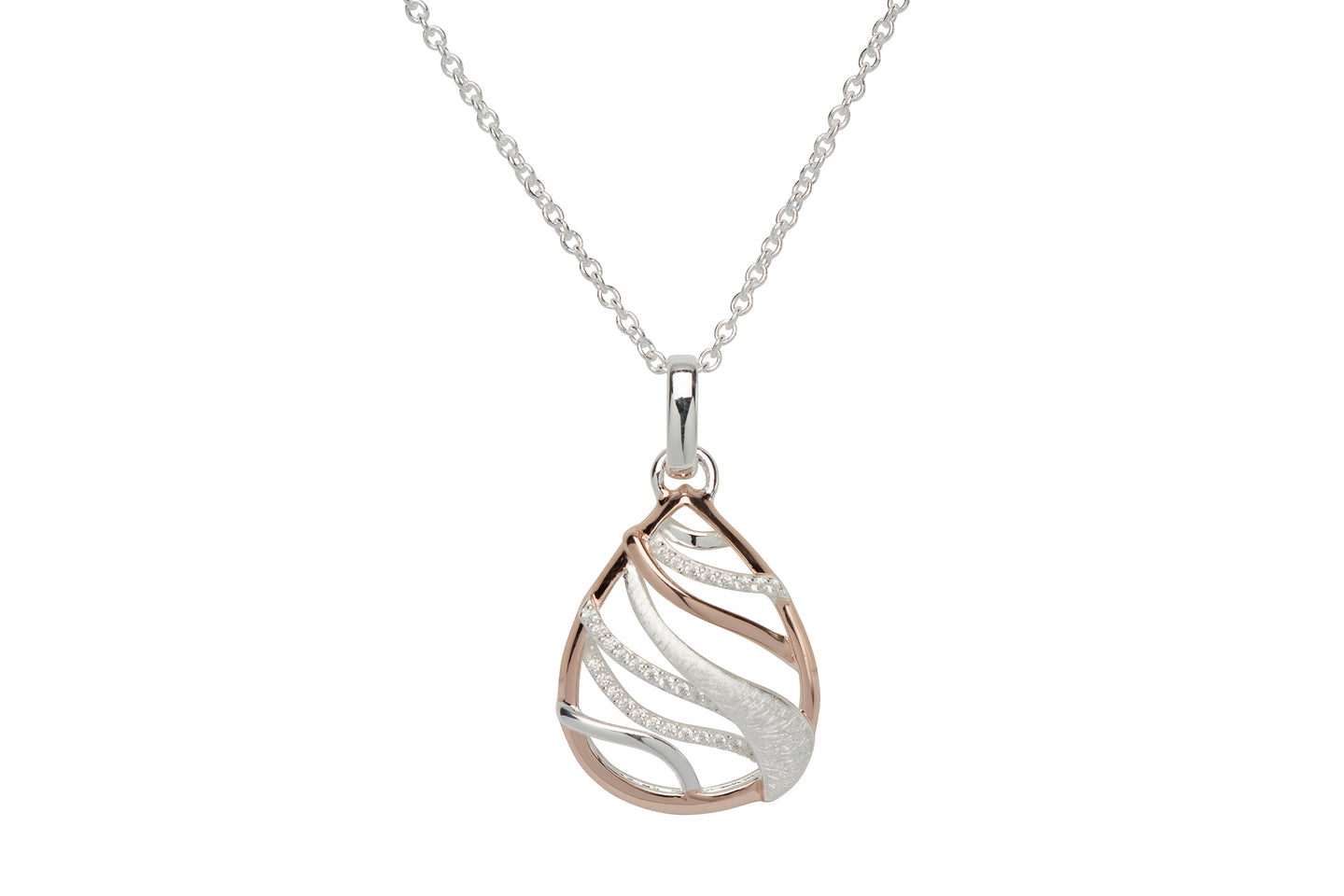 Silver and Rose Tear Drop Pendant with Chain MK-642