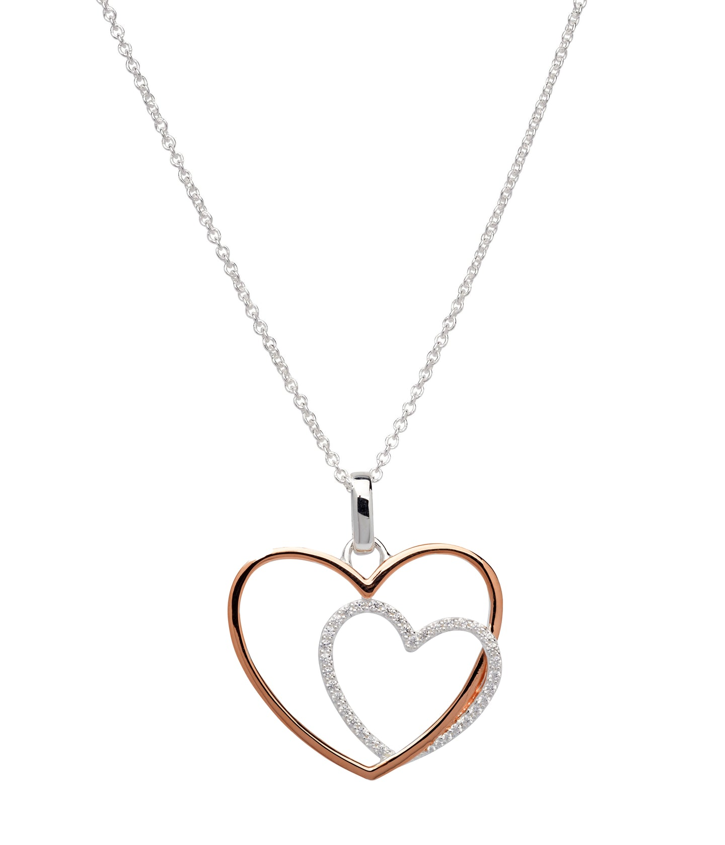 Silver and Rose Double Heart Pendant with Chain MK-660