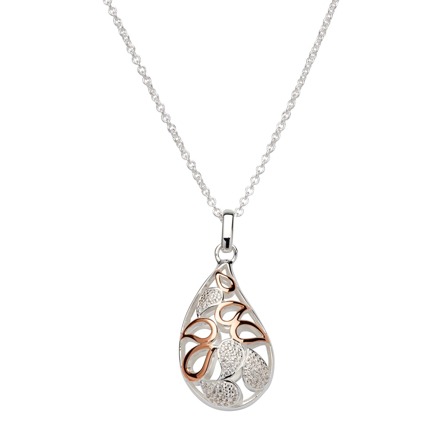 Silver and Rose Petal Shape Pendant with Chain MK-667