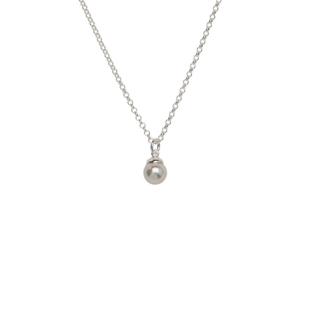 Silver Shell Pearl Pendant with Chain MK-687