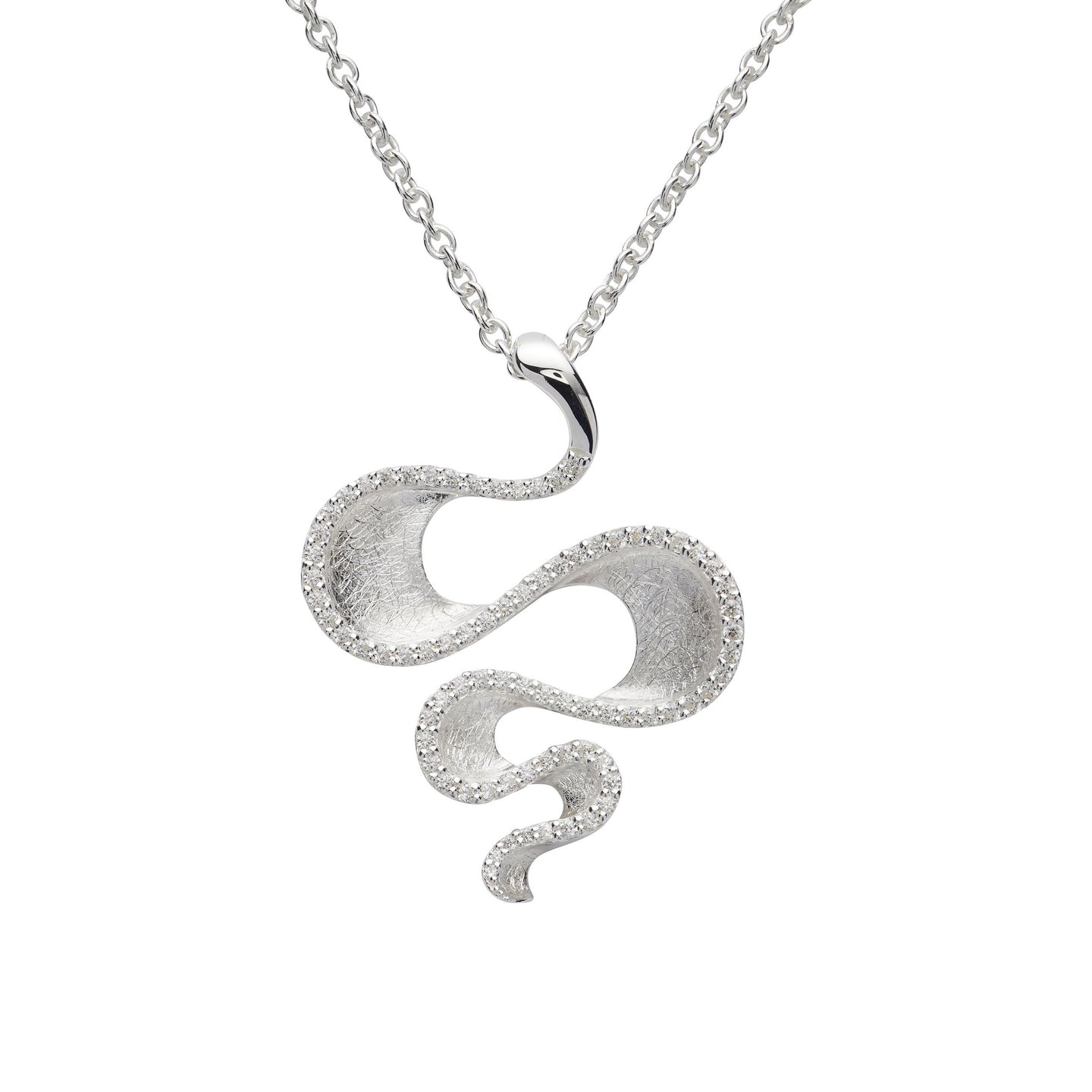 Silver Snake Shape Pendant with Chain MK-742