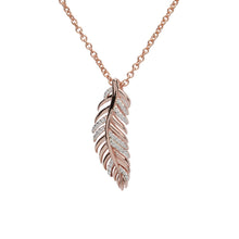 Load image into Gallery viewer, Rose Feather Pendant with Chain MK-743