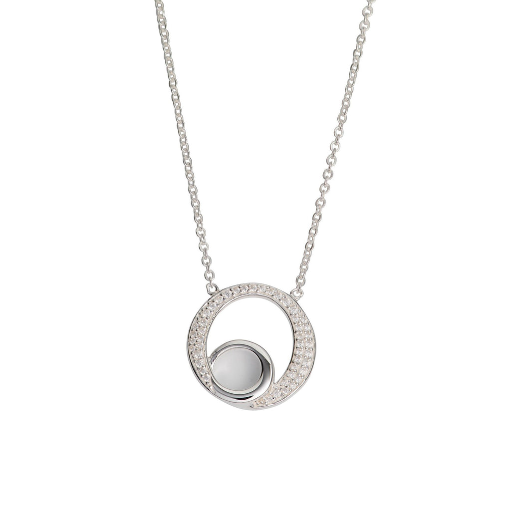 Silver Double Loop Pendant with Chain MK-764