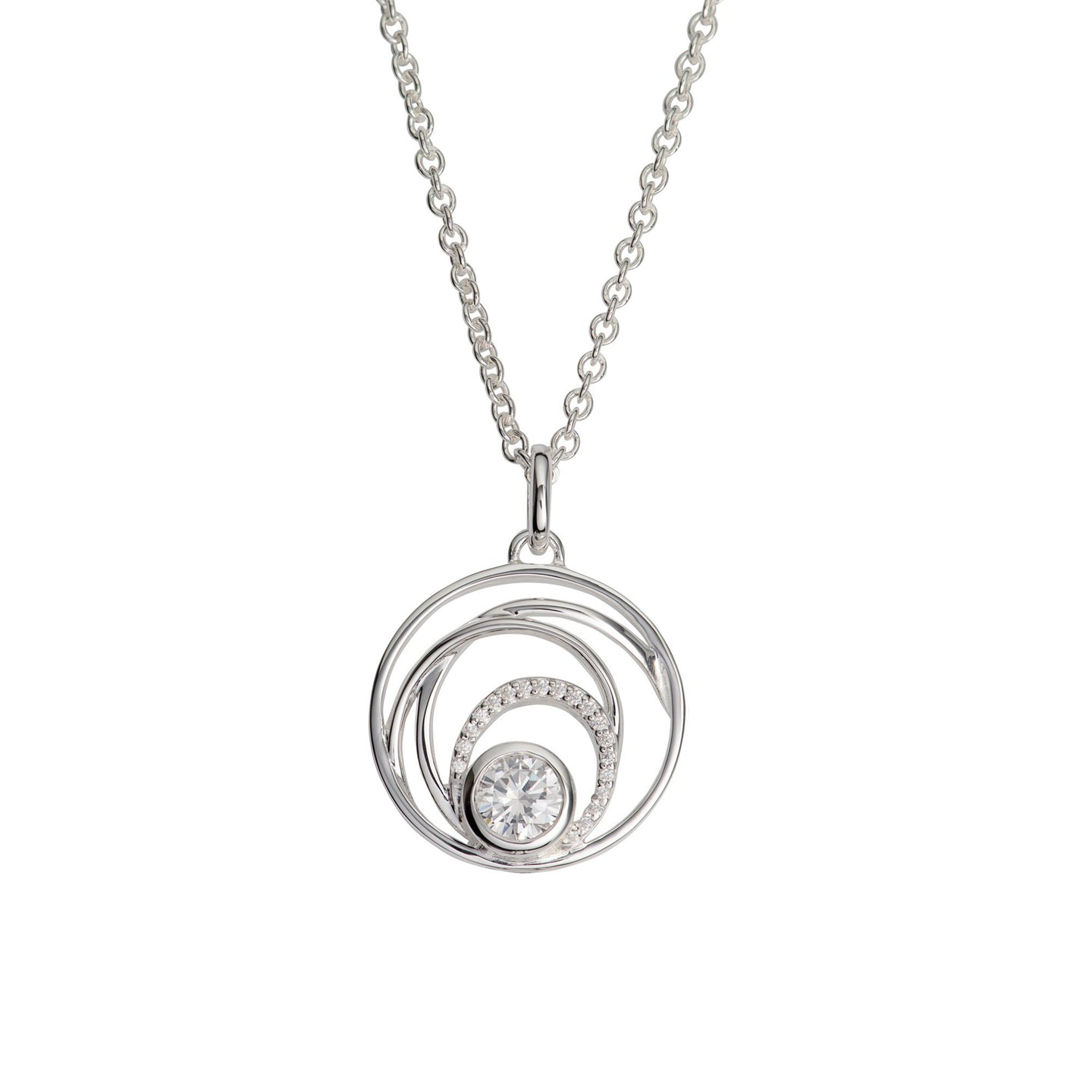 Silver Swirl Pendant with Cubic Zirconia with Chain MK-765