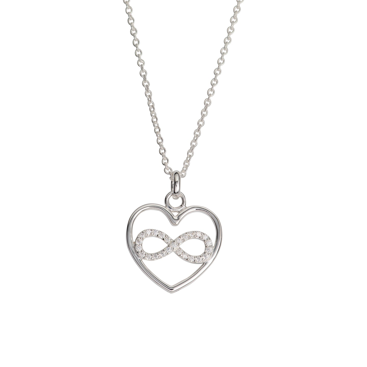Silver Infinity Heart Pendant with Chain MK-767