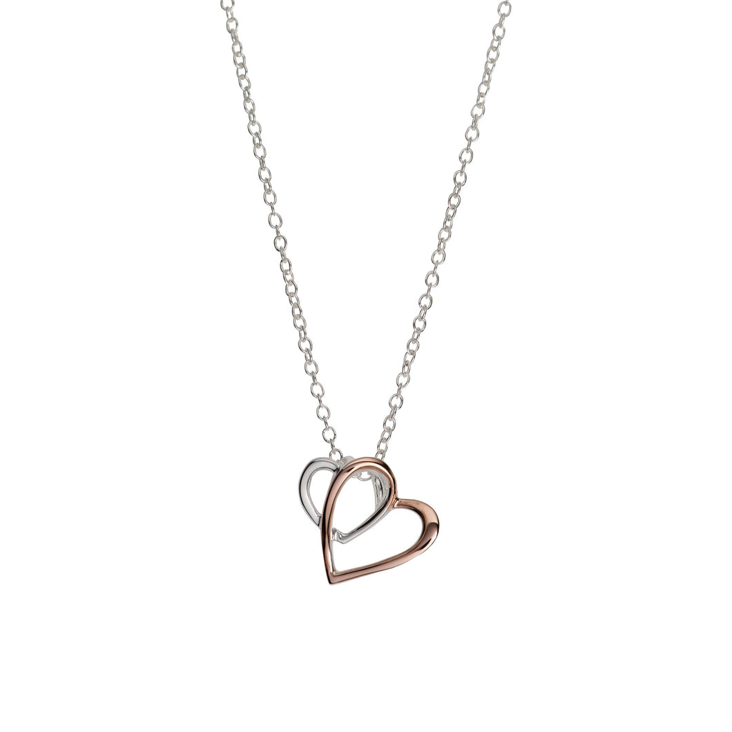 Silver & Rose Double Love-heart Pendant with Chain MK-770