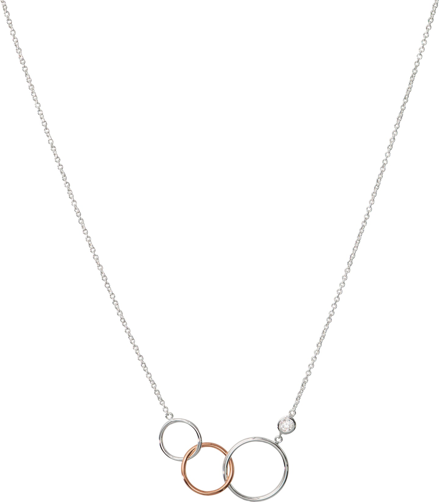 Three Hoops Linked Pendant with Chain MK-789