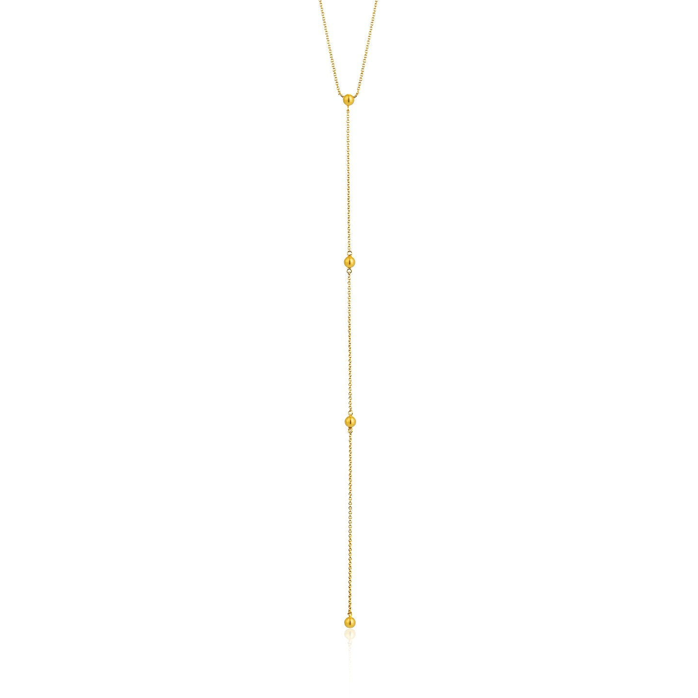 Gold Modern Beaded Y Necklace N002-02G