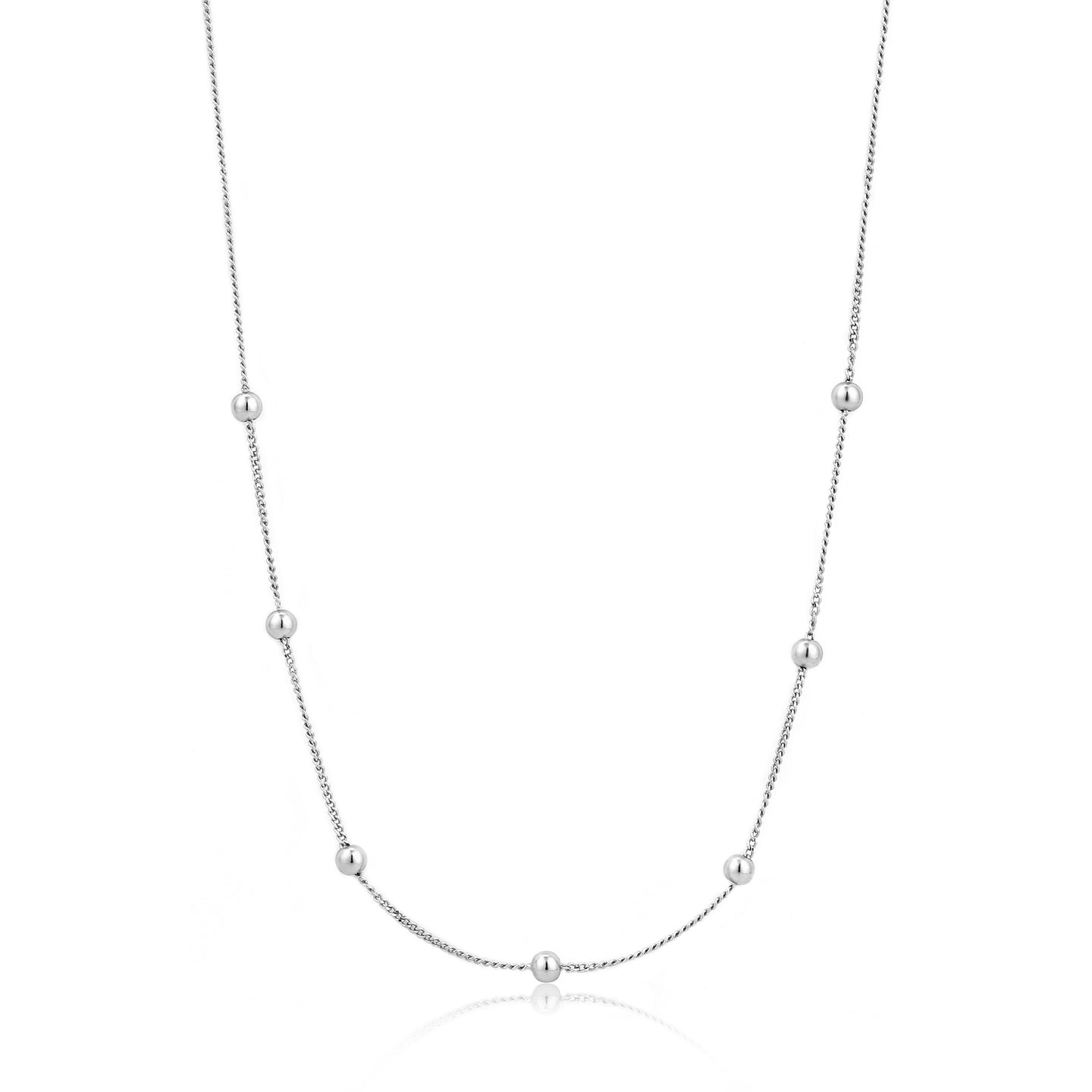 Silver Modern Beaded Necklace N002-03H