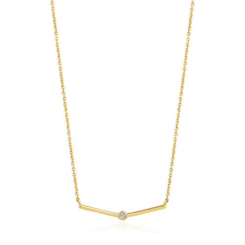 Gold Shimmer Single Stud Necklace N003-02G