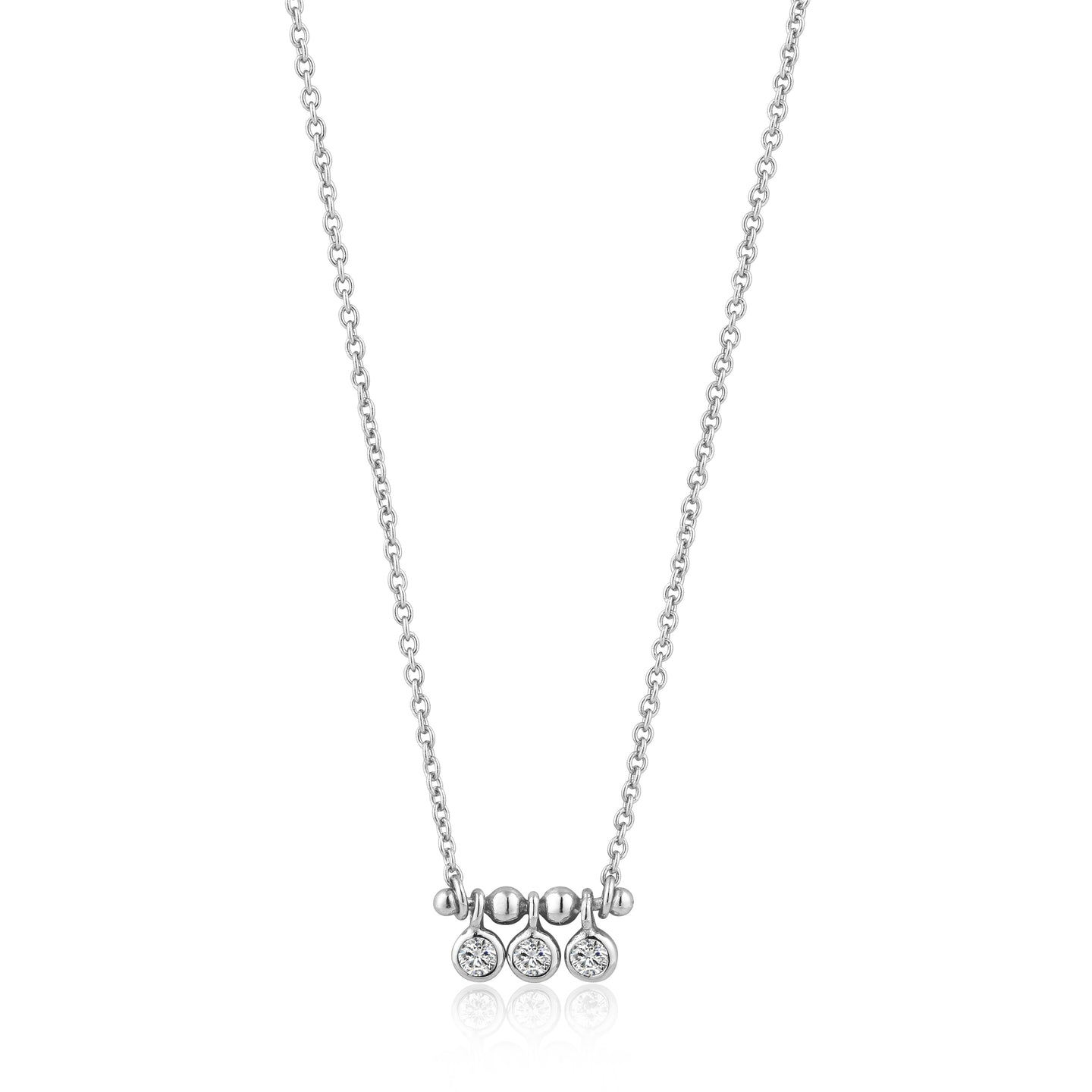 Silver Shimmer Triple Stud Necklace N003-03H
