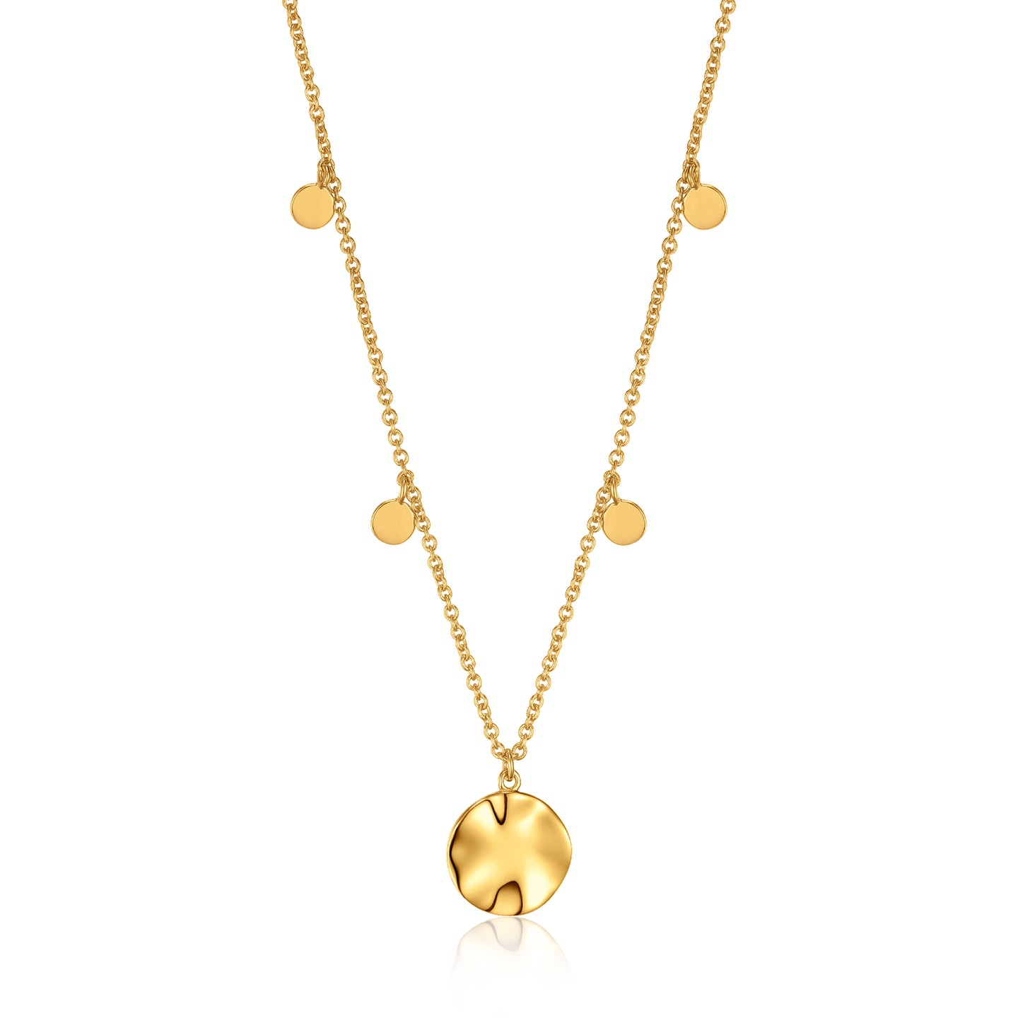 Gold Ripple Drop Discs Necklace N007-04G