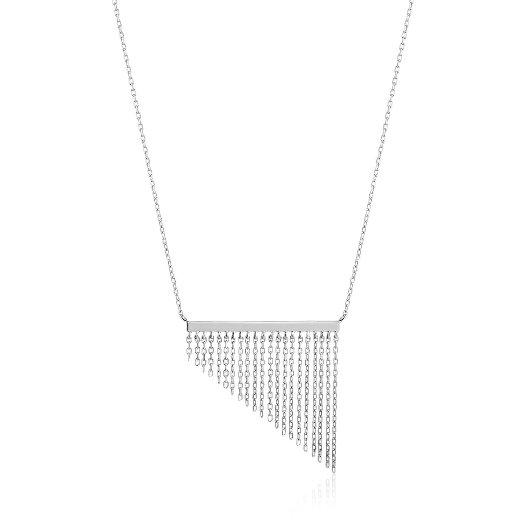 Silver Fringe Fall Necklace N013-02H