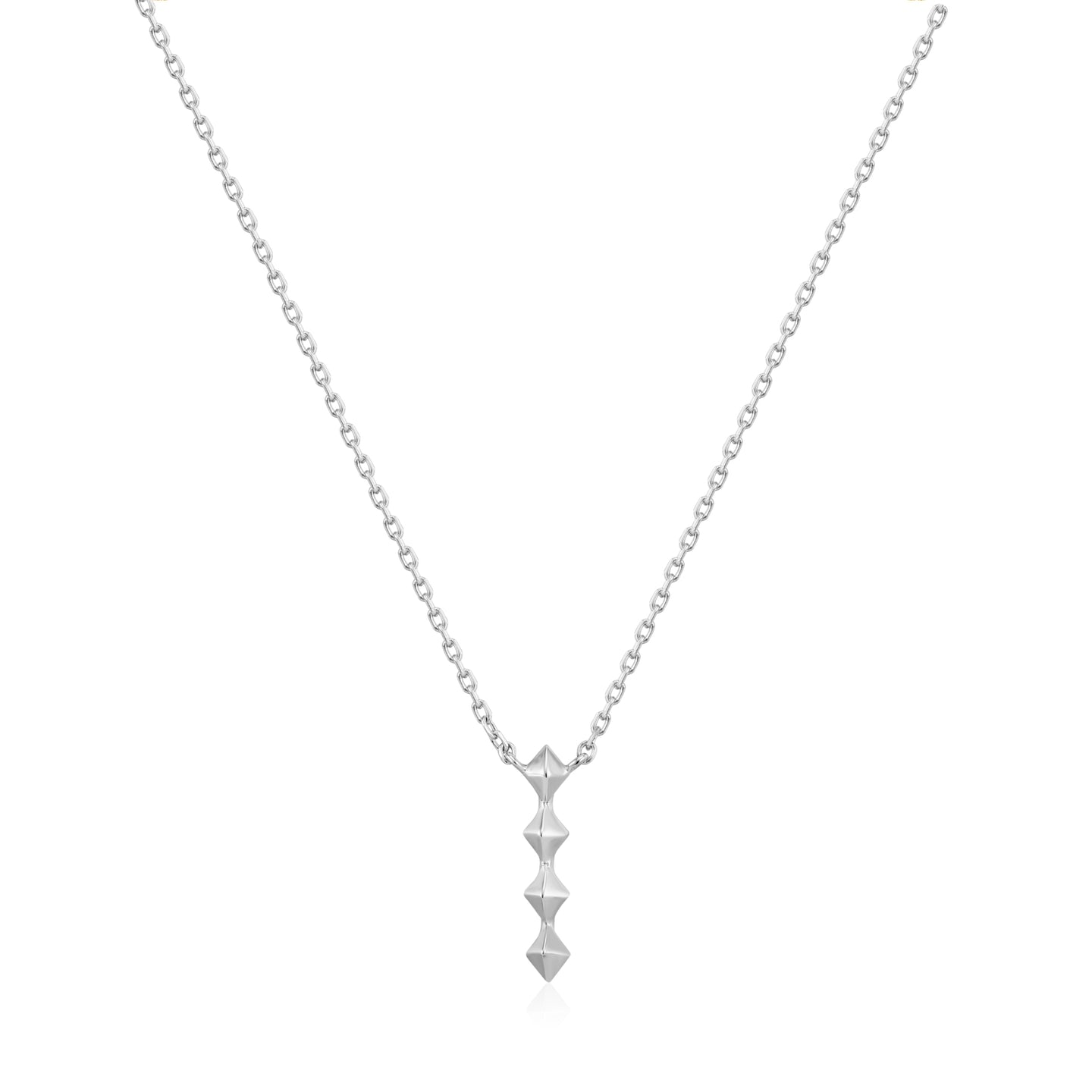 Silver Spike Drop Necklace N025-01H