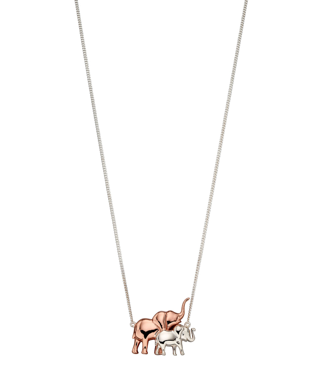 Silver and Rose Mother and Baby Elephant Necklace