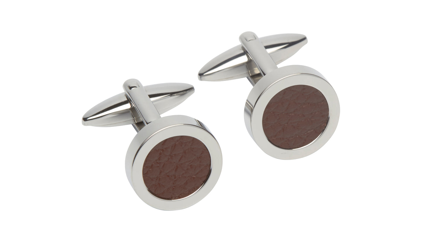 Steel Cufflinks with Brown Leather QC-200