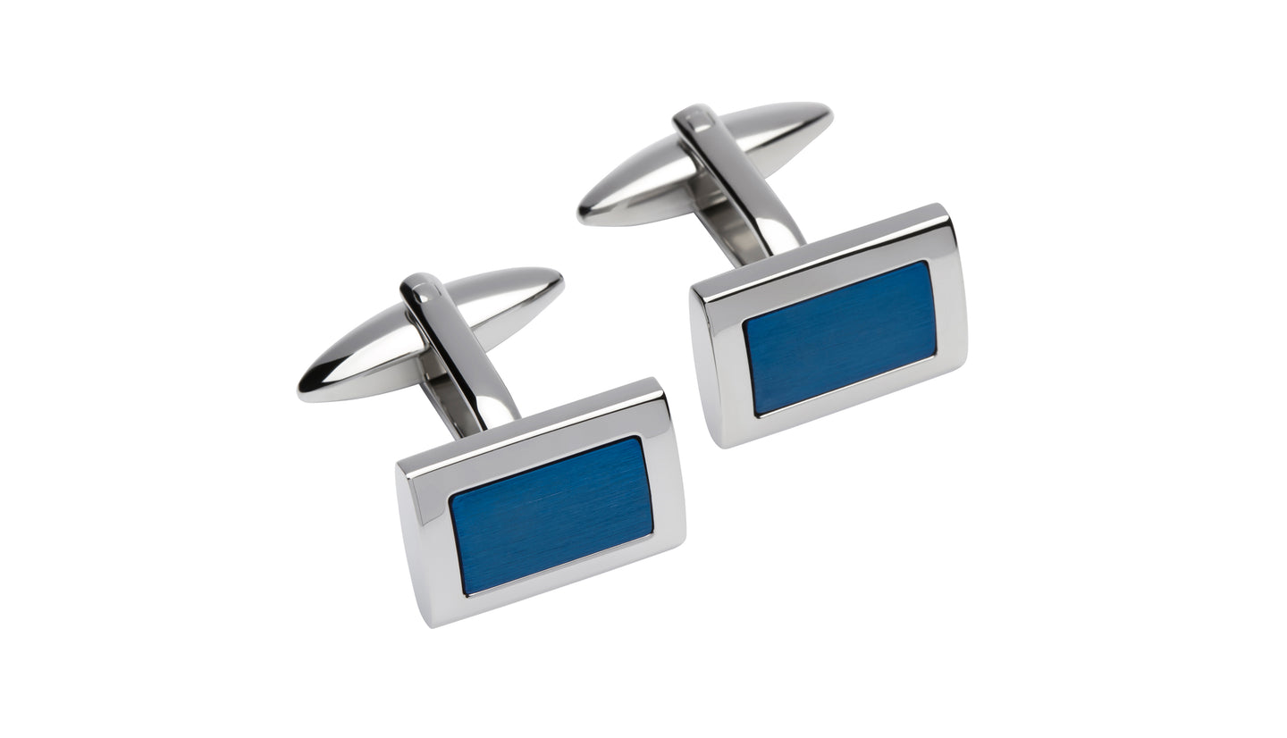 Steel Cufflinks with Blue Plating QC-210
