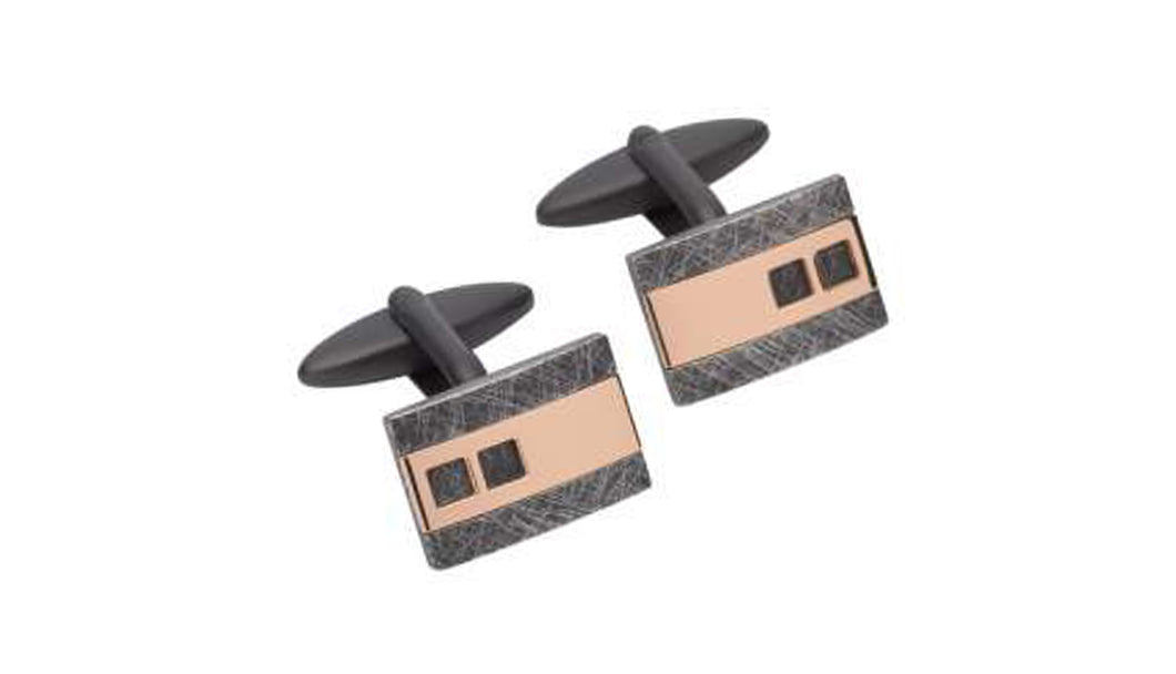 Steel Cufflinks with Rose and Black Plating QC-220