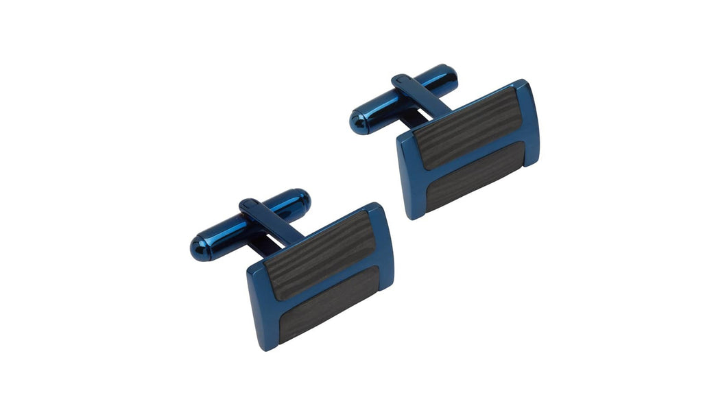 Steel Cufflinks Blue with Carbon Fibre  QC-238
