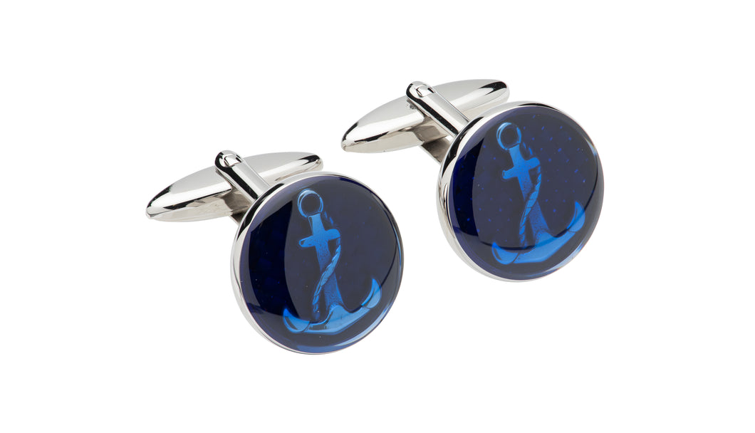 Steel and Blue Anchor Cufflinks QC-272