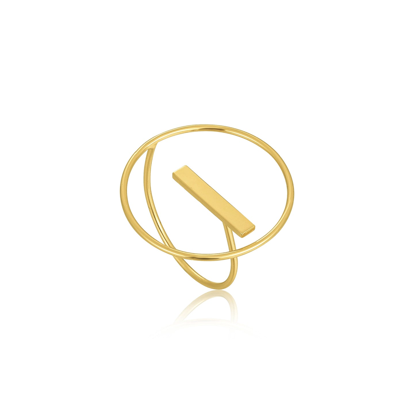 Gold Modern Circle Adjustable Ring R002-04G