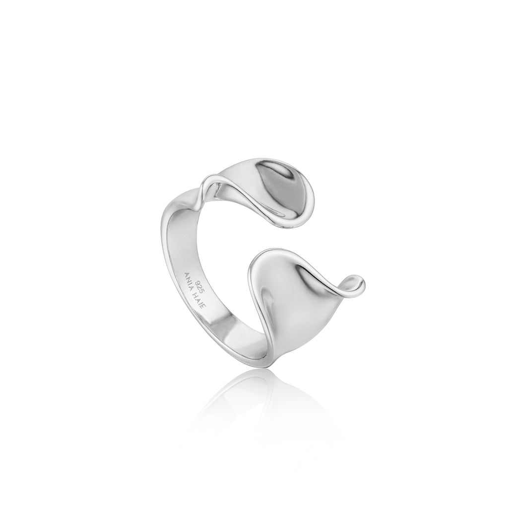 Silver Twist Wide Adjustable Ring R012-03H