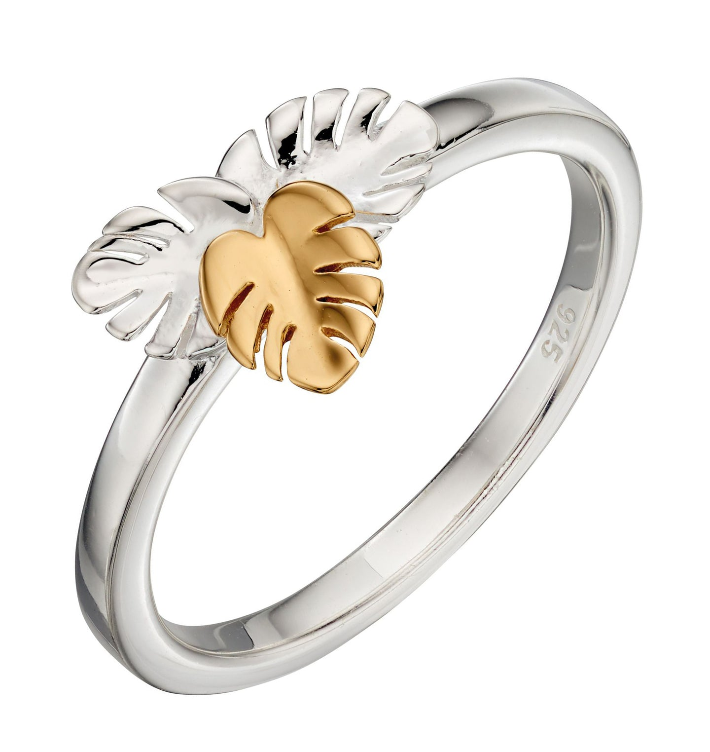 Silver & Gold Cheeseplant Leaf Ring